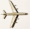 Flugzeug Zinnguss silbrig  L = 87  ca. 1:500