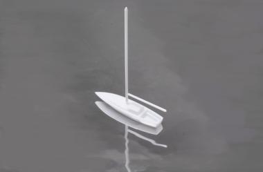 Segelboot, ohne Segeltuch 1:100, weiß