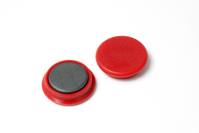 Rundmagnet aus Ferrit mit Kunststoffkappe, dm 24 mm, h =6,5 mm, Haftkraft 3 N, rot, 10 Stk