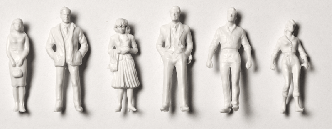 Detailed figures white 1:200, standing + walking