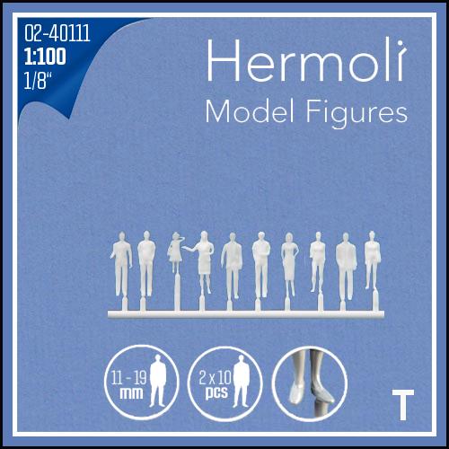 "Detailed figures white 1:100, standing, ""Hermoli"""